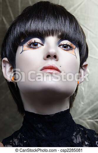 Emo girl with straight fringe bob and alternative make-up, piercings on lip and ear from 16bit RAW. - csp2285081