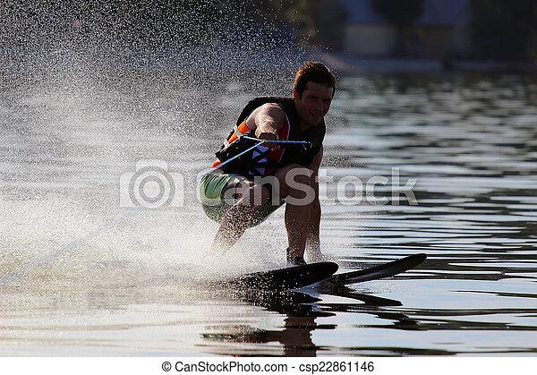 athlete waterskiing - csp22861146