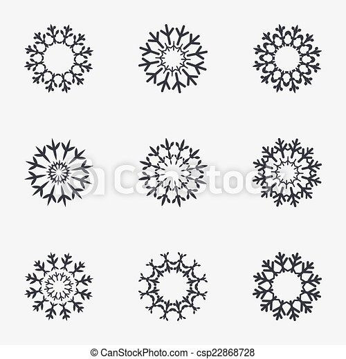 Snowflake Artistic Sign Icon Air Conditioning 22868728
