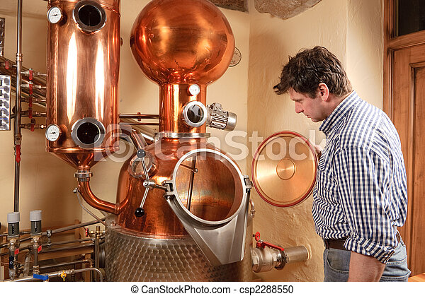 Man in front of distillery - copper - csp2288550