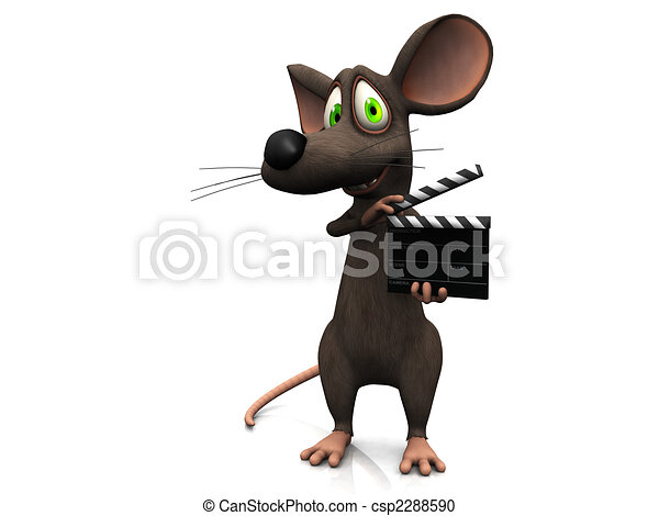 Cartoon mouse holding a film clapboard. - csp2288590