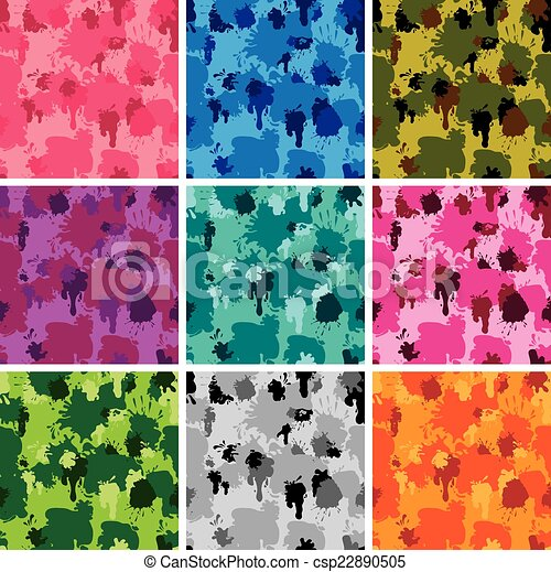 Set of camouflage fabric patterns - different colors. Seamless b - csp22890505