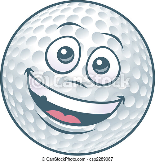 Cartoon Golf Ball Character - csp2289087