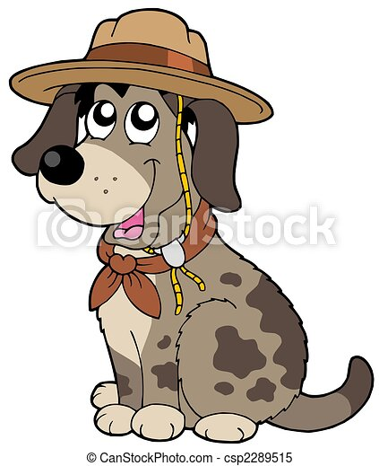 Friendly dog in scout hat - csp2289515