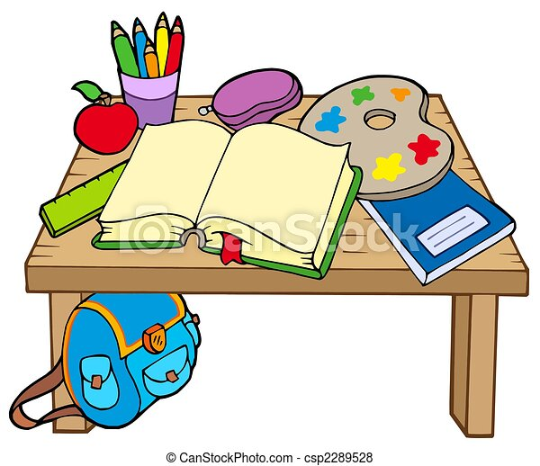 Tisch schule clipart  Stock Illustration von tisch, schule, 2 - School, tisch, 2, weiß ...