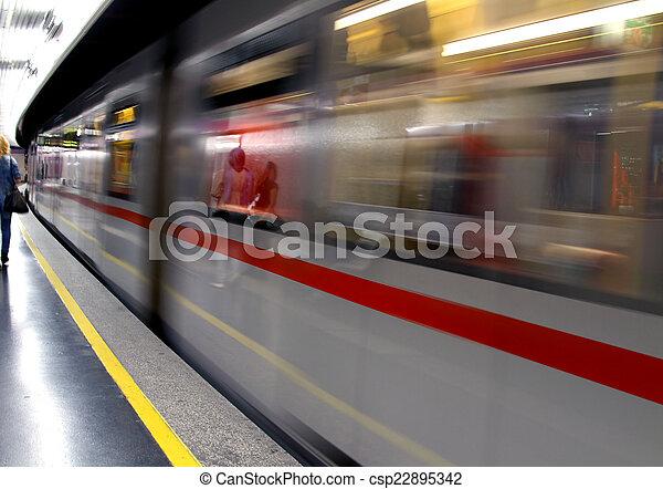 Metro wagon runs in an underground Metro station