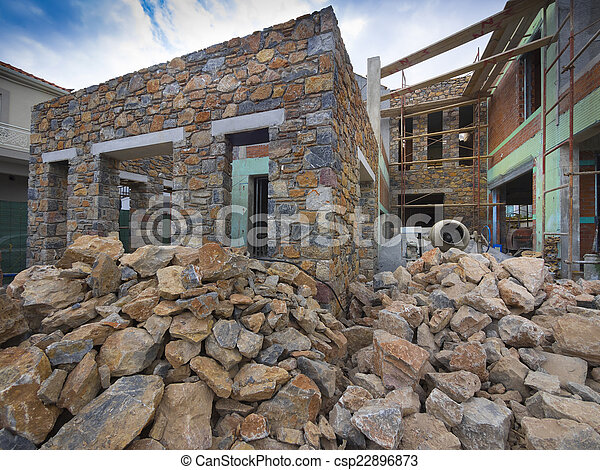 Picture Of New Stone House Construction Stone Single