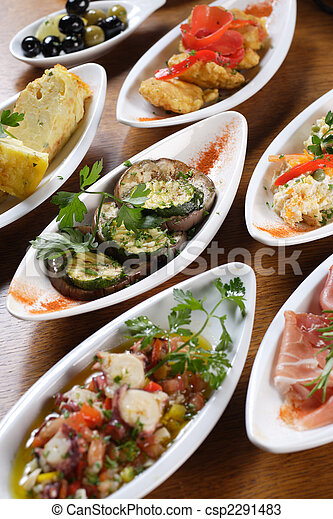 Plates of Spanish tapas - csp2291483