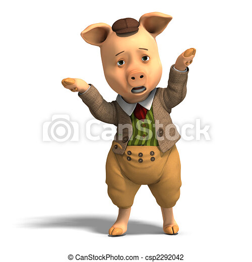 cute cartoon pig with clothes - csp2292042