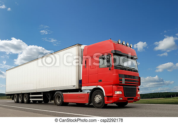 Red lorry with white trailer over blue sky - csp2292178