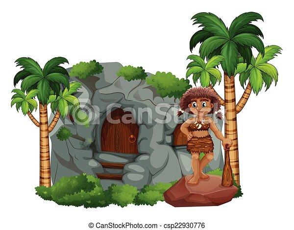Illustrazioni vettoriali di caveman caverna for Piani di garage free standing