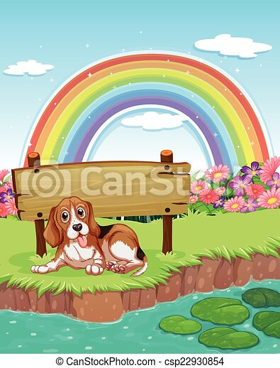 Clipart Vector of Dog and rainbow - illustration of a dog ...