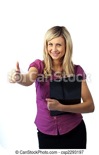 Woman Holding a Clip Board  - csp2293197