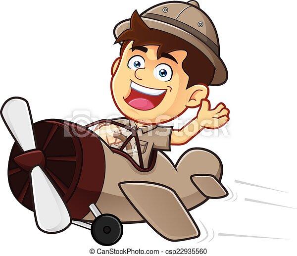 矢量, clipart, 图画, 男孩, 侦察, 或者, 探险家, 男孩, 卡通漫画图片
