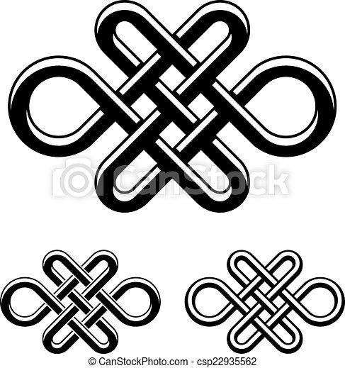 Clip art de vectores de celta s mbolo vector negro nudo blanco interminable - Symbole celtique signification ...