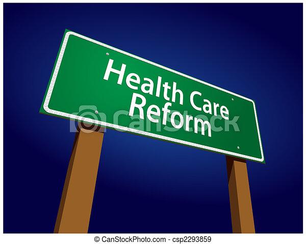 Health Care Reform Green Road Sign Vector Illustration - csp2293859