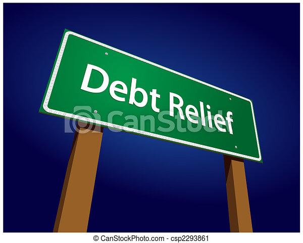 Debt Relief Green Road Sign Vector Illustration - csp2293861