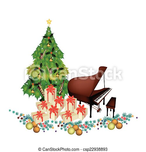 EPS Vectors of Christmas Tree with Gift Boxes and Piano ...