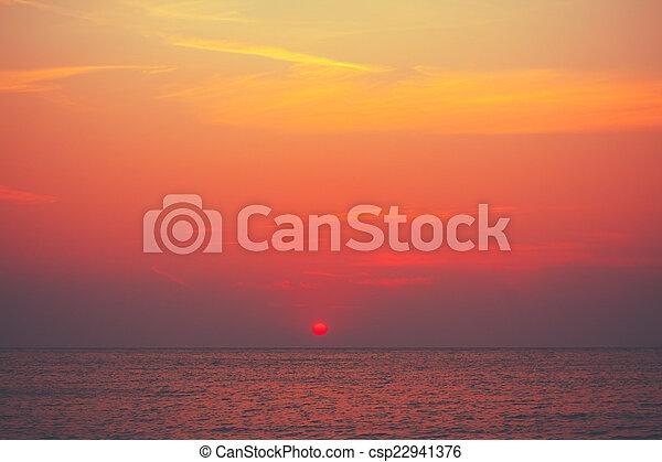 Red Sunset, Sunrise Background Over Ocean, Sea  - csp22941376