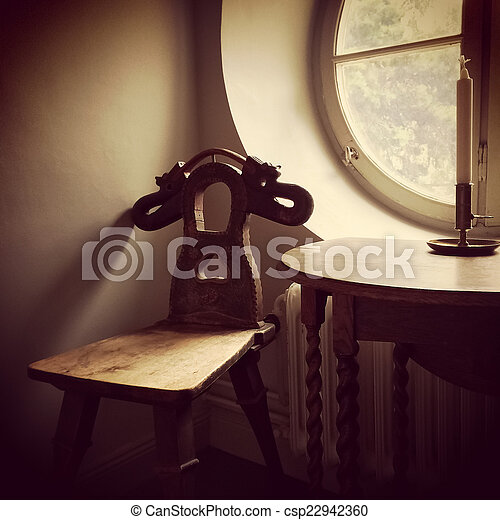 Retro style interior with wooden furniture