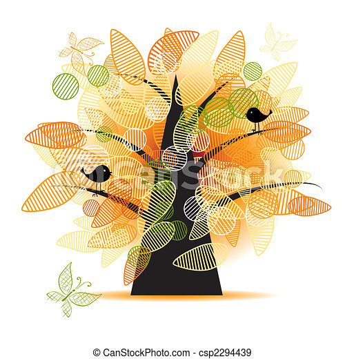 Art tree beautiful for your design - csp2294439