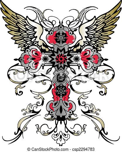 flying wing cross tribal heraldic emblem - csp2294783