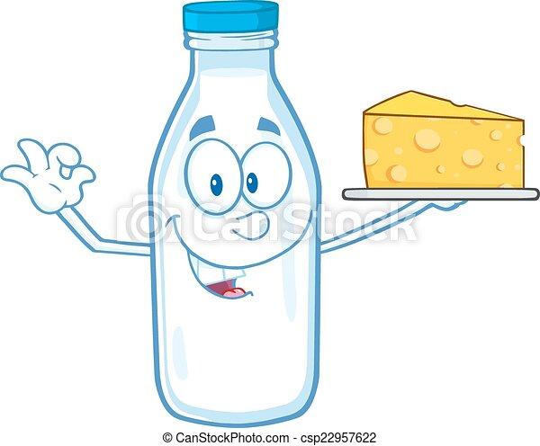 Milk Bottle Holding Yellow Cheese - csp22957622