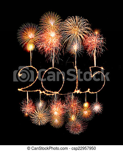 Happy New Year - 2015 made a sparkler with fireworks