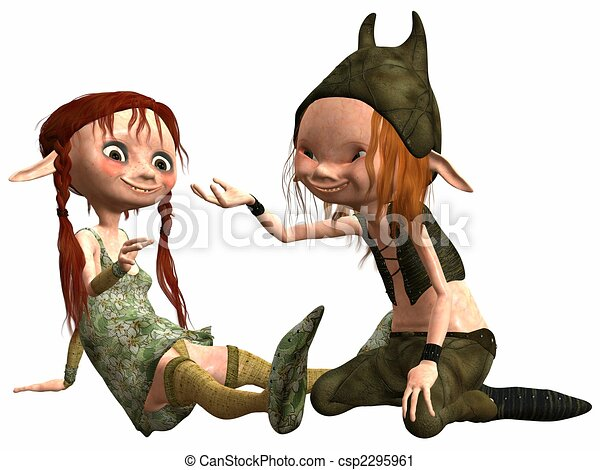 Clipart of Little Female and Male Troll - 3D Render of an Little ...