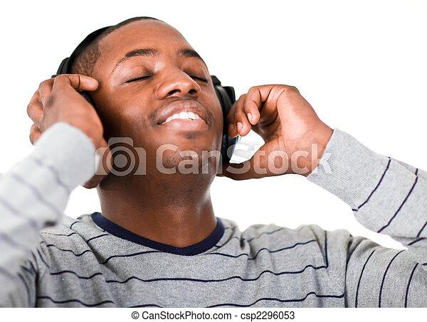musik, ung, lyssnande, vuxen - csp2296053
