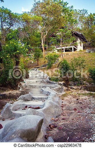 stock de fotos piedra natural casa primero escaleras acantilado