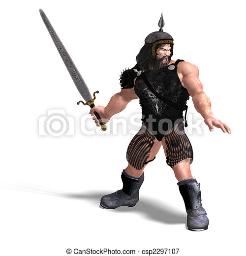 strong dwarf with sword - csp2297107