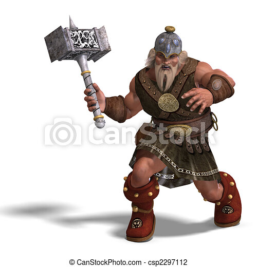 mighty fantasy dwarf with a hammer - csp2297112