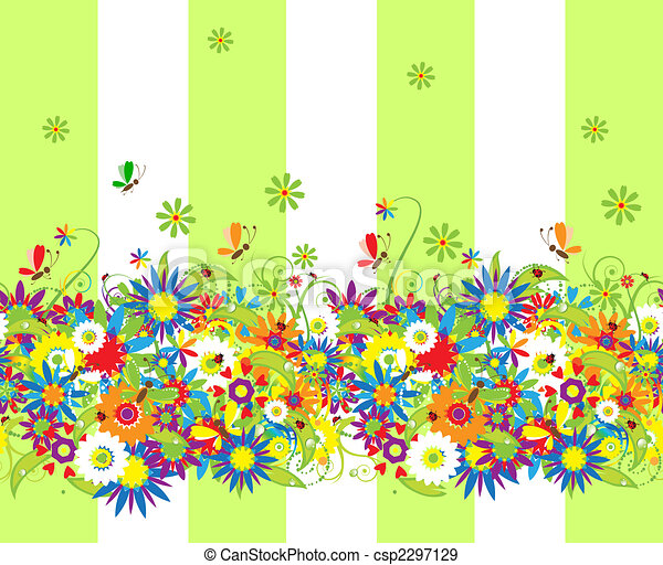 Summer day. Floral seamless background for your design - csp2297129