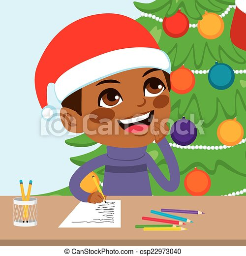 Eps Vector Of Kid Writing Santa Letter Cute Little Black