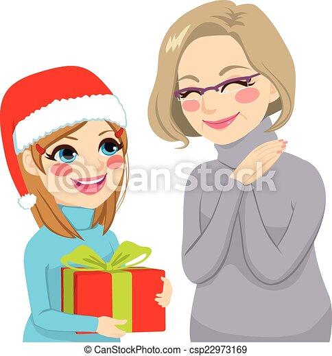 clip art vektor von geben  gro u00dfmutter  enkelin  geschenk grandma clip art pushing stroller grandma clip art multicultural
