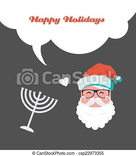 happy holidays, jewish holiday menorah and Xmas Santa - csp22973355