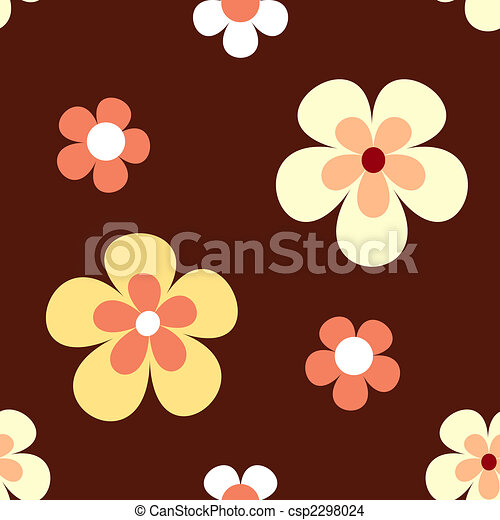 Seamless retro flowers pattern - csp2298024
