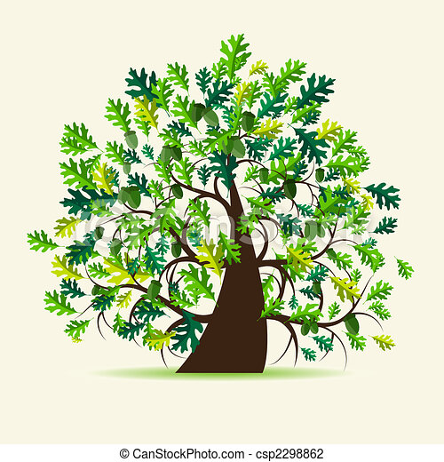Line art eps picture pictures graphic graphics drawing drawings - Vector Illustration Of Oak Tree Summer Csp2298862