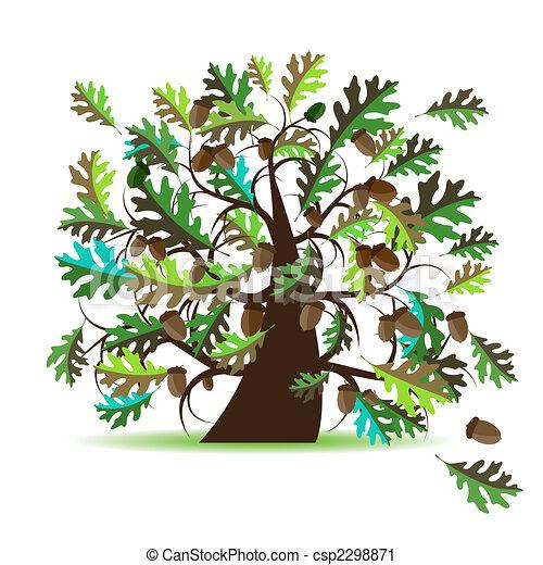Vector Clip Art Of Oak Tree Summer Csp2298871 Search