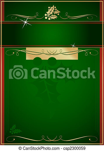 Exotic Holly and Flourish Adorned Christmas Card or Tag - csp2300059