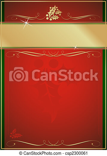 Exotic Holly and Flourish Adorned Christmas Card or Tag - csp2300061
