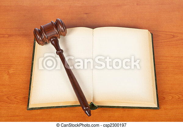 Wooden gavel and law book - csp2300197