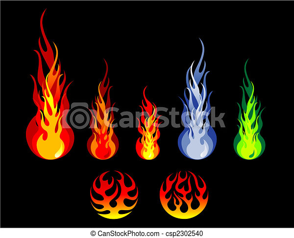 Fire and flame silhouettes - csp2302540