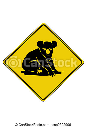 Koala road sign from australia - csp2302906