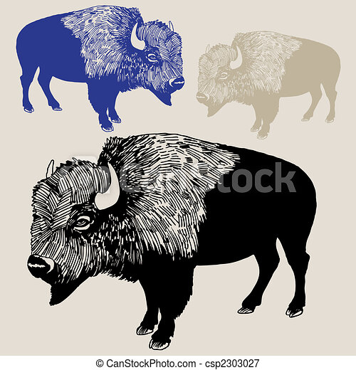 Bison Outline Tattoo