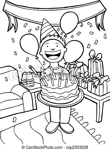 Vector Of Birthday Party Time Boy Celebrating His