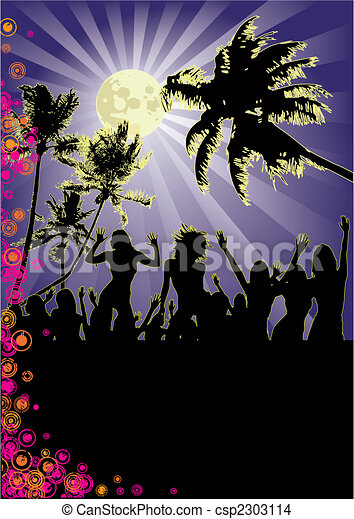 Beachparty at full moon - csp2303114