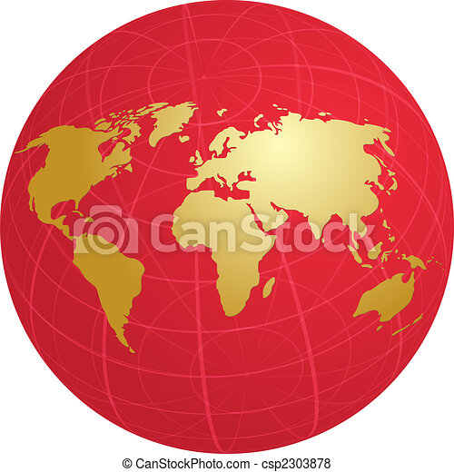 Map of the world illustration on globe grid - csp2303878