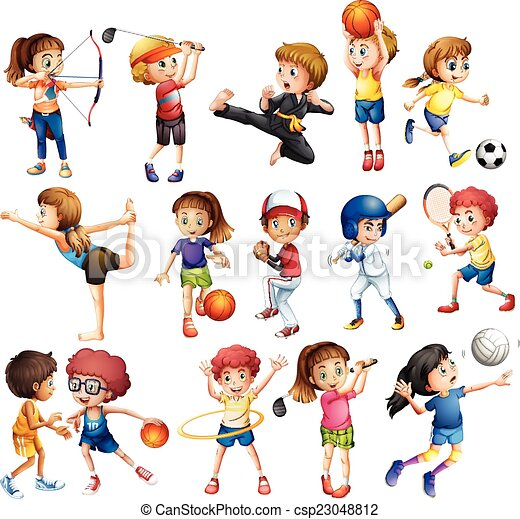 Vector Clip Art of Kids playing sport - Kids playing various ...